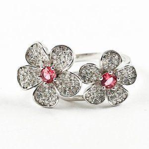 Elegant Cute Double Flower CZ Silver Ring